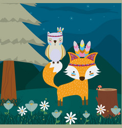 fox and owl cute hippie cartoon vector image
