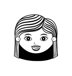 Front face woman silhouette with hair striped vector
