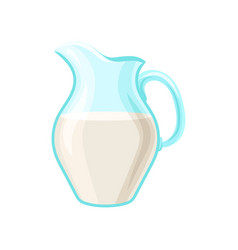 Glass pitcher of milk dairy product cartoon vector