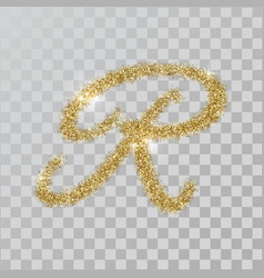 gold glitter powder letter r in hand painted style vector image