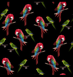 green red parrot seamless pattern vector image