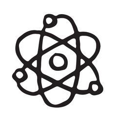 hand drawn atom doodle icon vector image