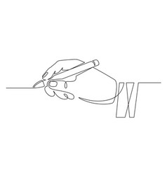 hand with pen continuous one line businessman vector image