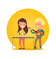 Happy children musicians with musical instruments vector