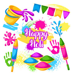 happy holi set elements buckets with paint vector image