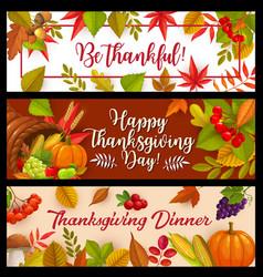Happy thanksgiving day banners cornucopia vector