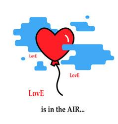 heart balloon flie flies parachute icon vector image