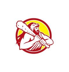 Hercules lion skin wield club circle retro vector