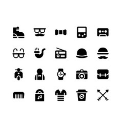 Hipster glyph icons vector