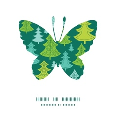 Holiday christmas trees butterfly silhouette vector