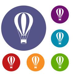 Hot air balloon icons set vector