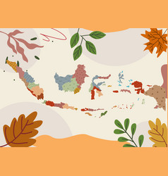 Indonesian map design banner with frame autumn vector