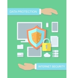 Internet security data protection flat vector