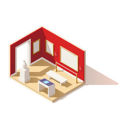isometric low poly museum interior vector image