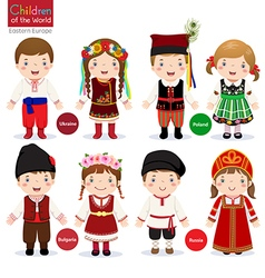 Kids in different traditional costumes Ukraine vector