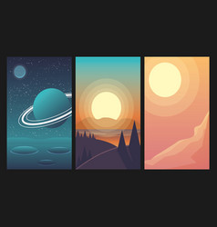 Landscapes set with forest space mountain river vector