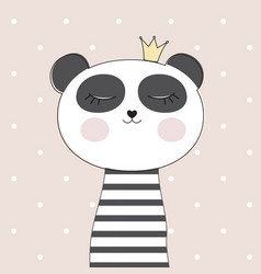little cute panda princess vector image