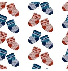 little knitting socks seamless pattern vector image