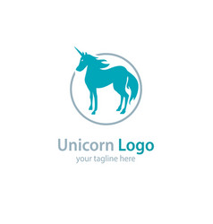 Logo with a unicorn on a white background vector