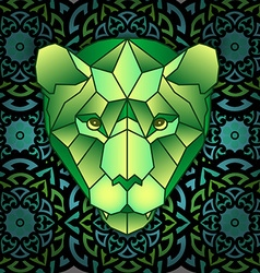 Mandala and polygonal head of polygonal tiger vector image vector image
