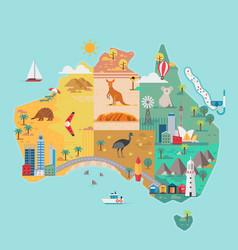 Map australia colorful landmarks vector