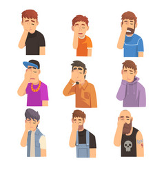 Men covering their face with hands set people vector