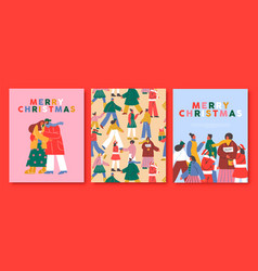 merry christmas card set happy holiday people vector image