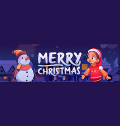 merry christmas poster with cute girl and snowman vector image