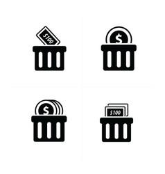 Money shopping cart icon set vector