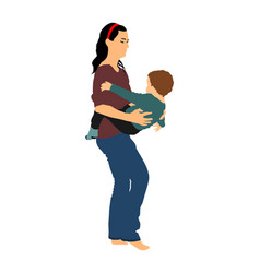 Mother holding bakindergarten babysitter vector