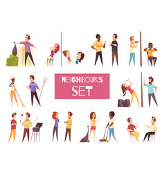 Neighbors cartoon set vector