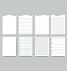 notebook page set notepad lined and dots paper vector image