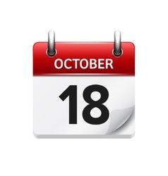 October 18 flat daily calendar icon Date vector