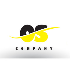 Os o s black and yellow letter logo with swoosh vector