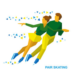 Pair figure skating man and woman on ice vector