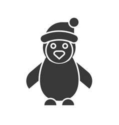 penguin wearing christmas hat merry christmas vector image