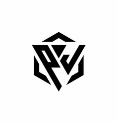 Pj logo monogram with triangle and hexagon modern vector
