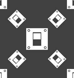 Power switch icon sign Seamless pattern on a gray vector image