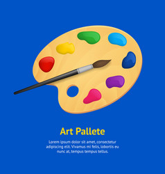 realistic detailed 3d wooden art palette with vector image