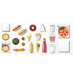 realistic fast food mockup set top view for vector image