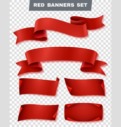 Red paper banner transparent icon set vector