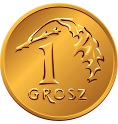 reverse Polish Money one Grosz copper coin vector image