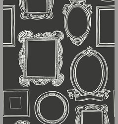 rococo wooden frames pattern wallpaper vector image