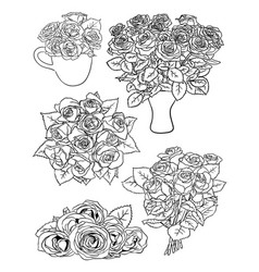 roses line art vector image