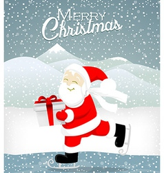 Santa skate on ice vector image