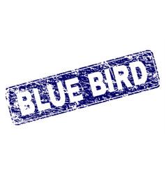 Scratched blue bird framed rounded rectangle stamp vector