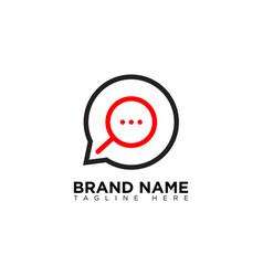 Search talk conversations bubble logo design vector