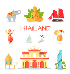 Set icons with thailand national symbols vector