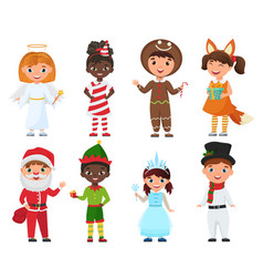 set kids in christmas costumes vector image