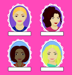 Set of female portrait in oval frame vector